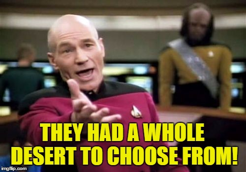 Picard Wtf Meme | THEY HAD A WHOLE DESERT TO CHOOSE FROM! | image tagged in memes,picard wtf | made w/ Imgflip meme maker