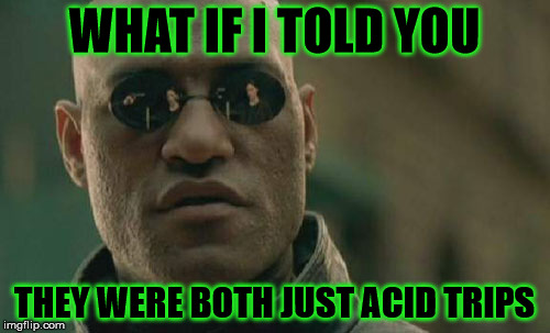 Matrix Morpheus Meme | WHAT IF I TOLD YOU THEY WERE BOTH JUST ACID TRIPS | image tagged in memes,matrix morpheus | made w/ Imgflip meme maker