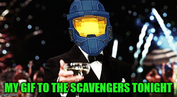 Cheers Ghost | MY GIF TO THE SCAVENGERS TONIGHT | image tagged in cheers ghost | made w/ Imgflip meme maker