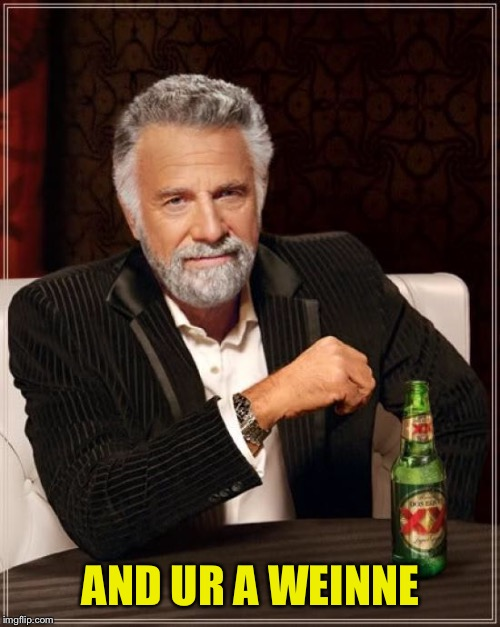 The Most Interesting Man In The World Meme | AND UR A WEINNE | image tagged in memes,the most interesting man in the world | made w/ Imgflip meme maker