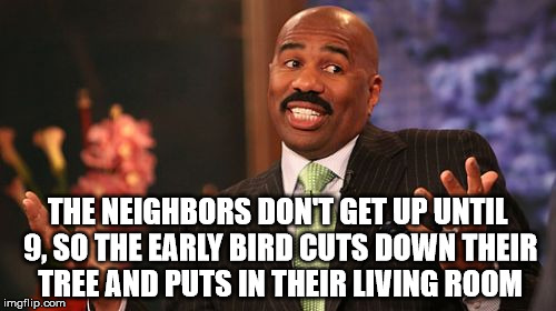 Steve Harvey Meme | THE NEIGHBORS DON'T GET UP UNTIL 9, SO THE EARLY BIRD CUTS DOWN THEIR TREE AND PUTS IN THEIR LIVING ROOM | image tagged in memes,steve harvey | made w/ Imgflip meme maker