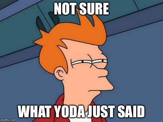 Futurama Fry Meme | NOT SURE WHAT YODA JUST SAID | image tagged in memes,futurama fry | made w/ Imgflip meme maker