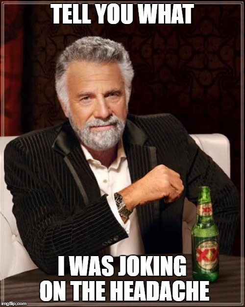 The Most Interesting Man In The World Meme | TELL YOU WHAT I WAS JOKING ON THE HEADACHE | image tagged in memes,the most interesting man in the world | made w/ Imgflip meme maker