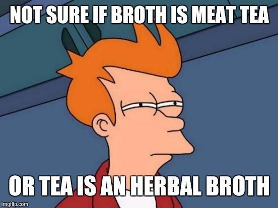 Futurama Fry Meme | NOT SURE IF BROTH IS MEAT TEA OR TEA IS AN HERBAL BROTH | image tagged in memes,futurama fry | made w/ Imgflip meme maker