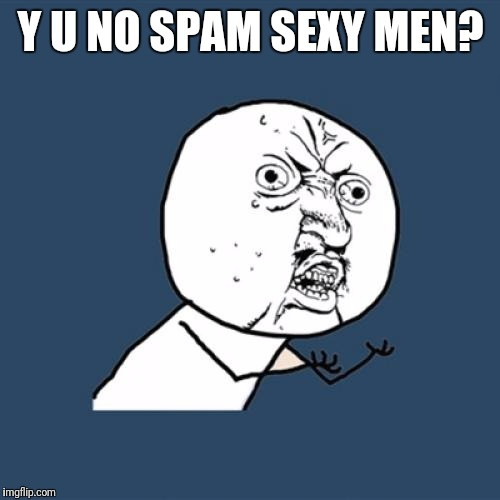Y U No Meme | Y U NO SPAM SEXY MEN? | image tagged in memes,y u no | made w/ Imgflip meme maker
