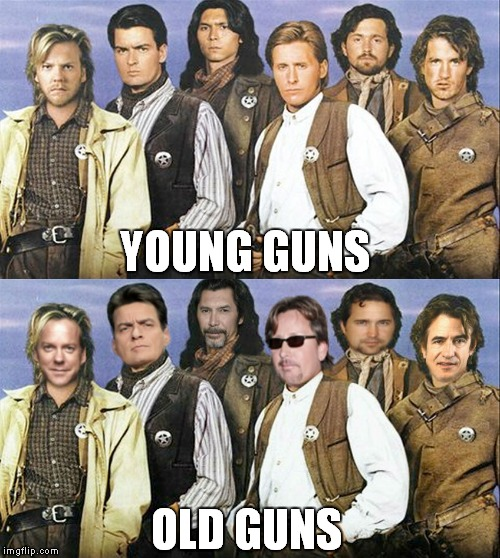 Some have aged better than others... | YOUNG GUNS OLD GUNS | image tagged in young,old,comparison | made w/ Imgflip meme maker