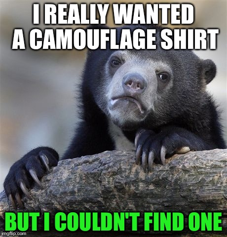 Confession Bear Meme |  I REALLY WANTED A CAMOUFLAGE SHIRT; BUT I COULDN'T FIND ONE | image tagged in memes,confession bear | made w/ Imgflip meme maker