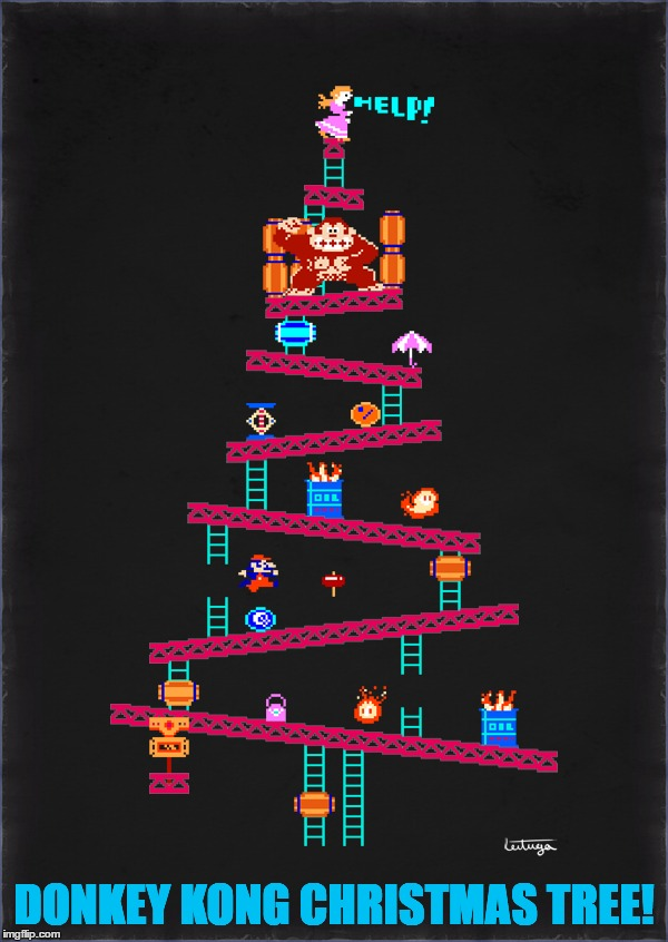 18 Days Left Until Christmas... | DONKEY KONG CHRISTMAS TREE! | image tagged in memes,donkey kong,nintendo,christmas,christmas tree,funny | made w/ Imgflip meme maker