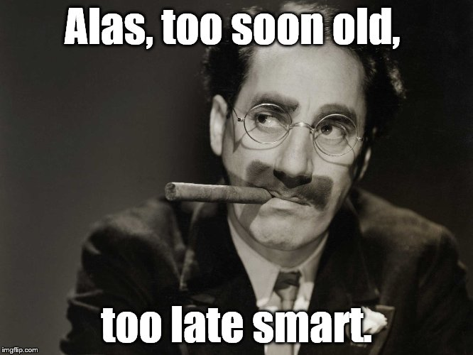 Thoughtful Groucho | Alas, too soon old, too late smart. | image tagged in thoughtful groucho | made w/ Imgflip meme maker