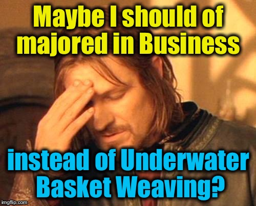 Maybe I should of majored in Business instead of Underwater Basket Weaving? | made w/ Imgflip meme maker