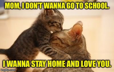 MOM, I DON'T WANNA GO TO SCHOOL. I WANNA STAY HOME AND LOVE YOU. | made w/ Imgflip meme maker