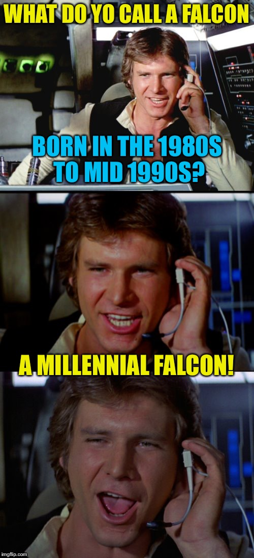 Bad Pun Han Solo |  WHAT DO YO CALL A FALCON; BORN IN THE 1980S TO MID 1990S? A MILLENNIAL FALCON! | image tagged in memes,bad pun han solo,falcons,millennials,star wars,funny | made w/ Imgflip meme maker