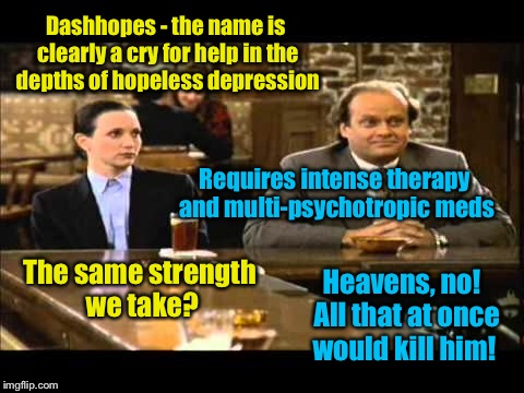 Dashhopes - the name is clearly a cry for help in the depths of hopeless depression Requires intense therapy and multi-psychotropic meds The | made w/ Imgflip meme maker