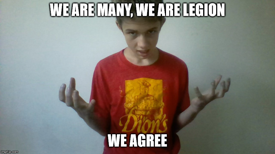 We are many we are legion kid | WE ARE MANY, WE ARE LEGION WE AGREE | image tagged in we are many we are legion kid | made w/ Imgflip meme maker