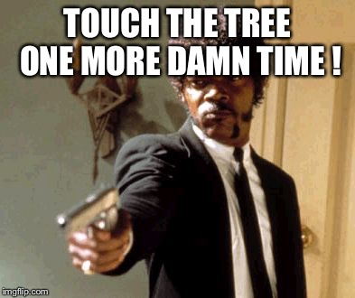 Say That Again I Dare You Meme | TOUCH THE TREE ONE MORE DAMN TIME ! | image tagged in memes,say that again i dare you | made w/ Imgflip meme maker