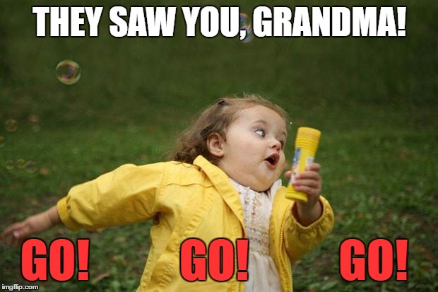 THEY SAW YOU, GRANDMA! GO!          GO!          GO! | made w/ Imgflip meme maker