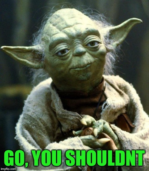 Star Wars Yoda Meme | GO, YOU SHOULDNT | image tagged in memes,star wars yoda | made w/ Imgflip meme maker