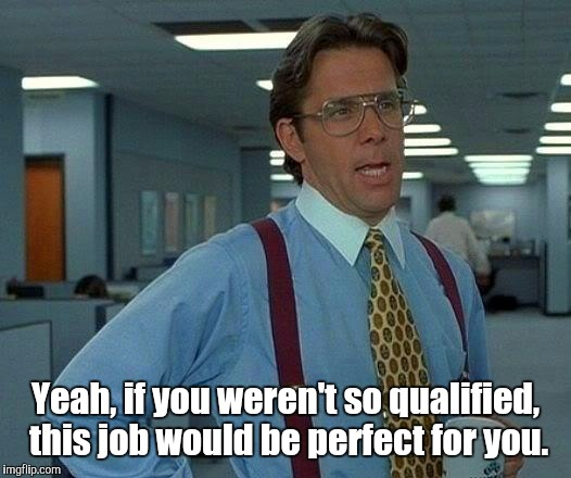That Would Be Great Meme | Yeah, if you weren't so qualified,  this job would be perfect for you. | image tagged in memes,that would be great | made w/ Imgflip meme maker