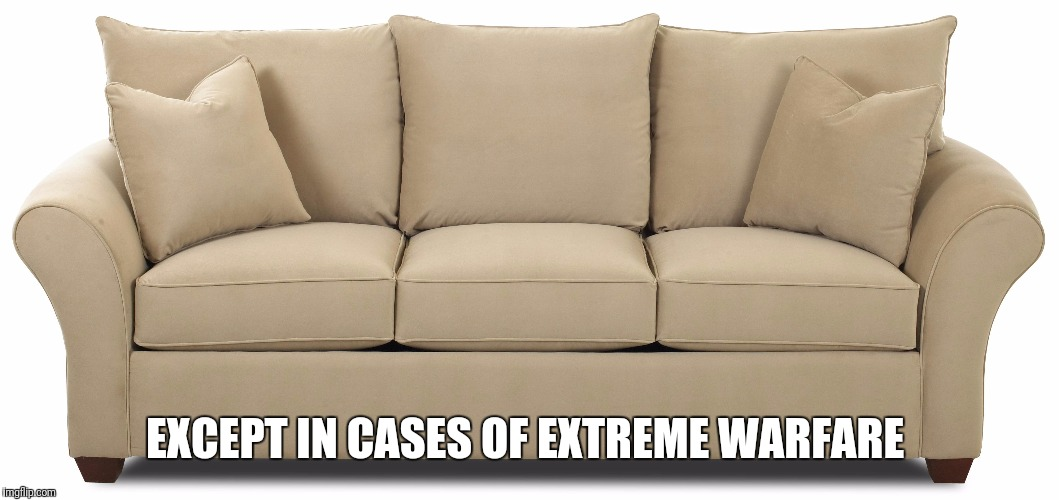 EXCEPT IN CASES OF EXTREME WARFARE | made w/ Imgflip meme maker