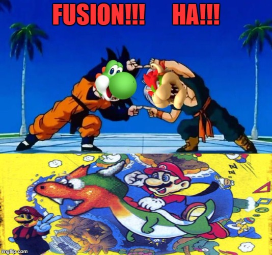 Bowshi | FUSION!!!      HA!!! | image tagged in bowshi,16,mario,mario16,dragon ball z,fusion | made w/ Imgflip meme maker