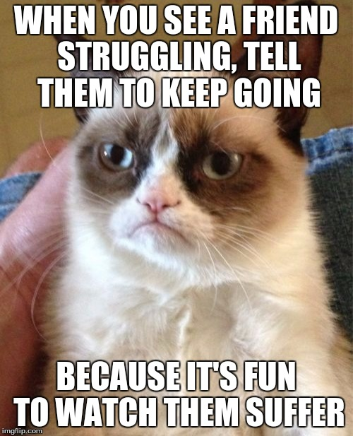 Grumpy Cat Meme | WHEN YOU SEE A FRIEND STRUGGLING, TELL THEM TO KEEP GOING BECAUSE IT'S FUN TO WATCH THEM SUFFER | image tagged in memes,grumpy cat | made w/ Imgflip meme maker