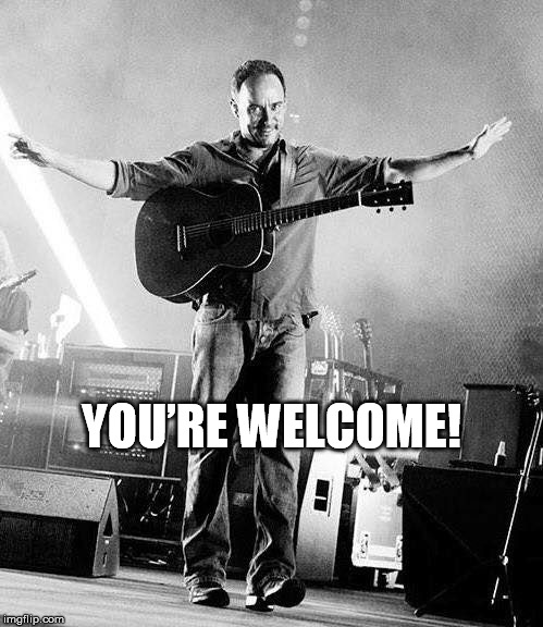 DAVE MATTHEWS YOU'RE WELCOME |  YOU'RE WELCOME! | image tagged in dave matthews,dmb,you're welcome | made w/ Imgflip meme maker