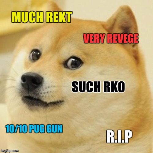 Doge Meme | MUCH REKT VERY REVEGE SUCH RKO 10/10 PUG GUN R.I.P | image tagged in memes,doge | made w/ Imgflip meme maker