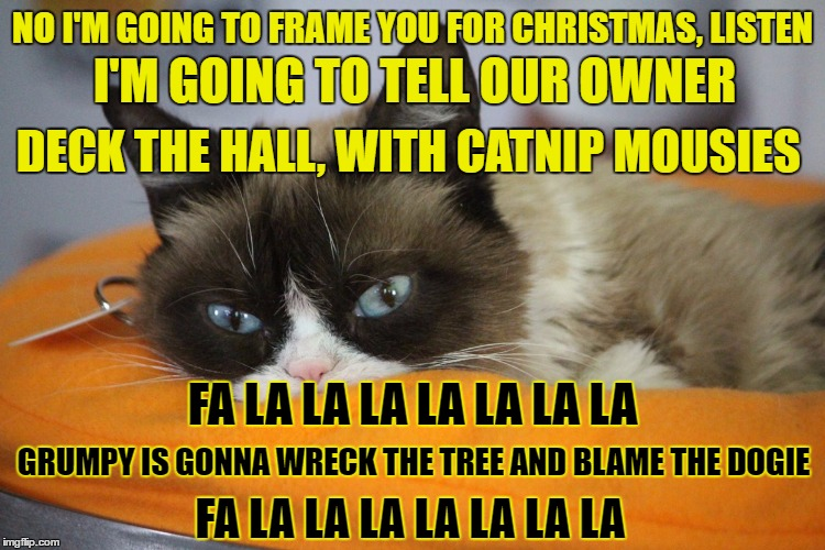 NO I'M GOING TO FRAME YOU FOR CHRISTMAS, LISTEN I'M GOING TO TELL OUR OWNER DECK THE HALL, WITH CATNIP MOUSIES FA LA LA LA LA LA LA LA GRUMP | made w/ Imgflip meme maker