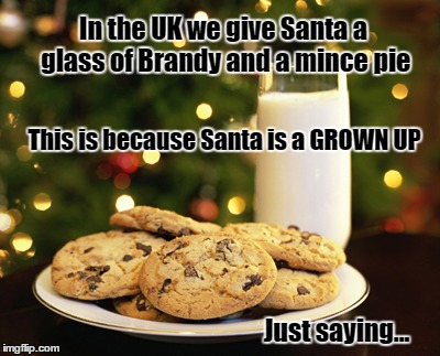 In the UK we give Santa a glass of Brandy and a mince pie This is because Santa is a GROWN UP Just saying... | image tagged in santa,bad santa,christmas santa claus troll face | made w/ Imgflip meme maker