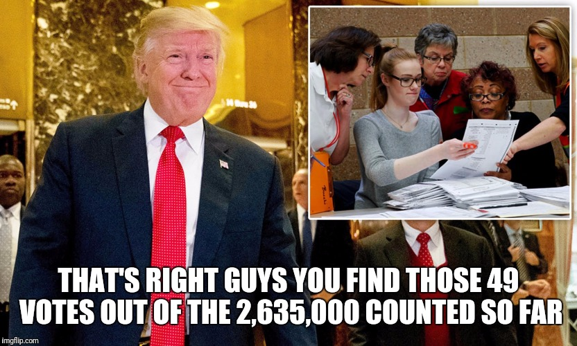 Wisconsin after 9 days and $3.5m spent  | THAT'S RIGHT GUYS YOU FIND THOSE 49 VOTES OUT OF THE 2,635,000 COUNTED SO FAR | image tagged in memes,funny,election 2016,recount,recount fail | made w/ Imgflip meme maker