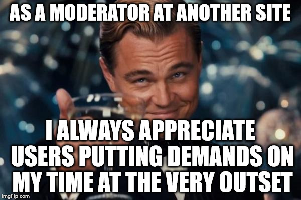 Leonardo Dicaprio Cheers Meme | AS A MODERATOR AT ANOTHER SITE I ALWAYS APPRECIATE USERS PUTTING DEMANDS ON MY TIME AT THE VERY OUTSET | image tagged in memes,leonardo dicaprio cheers | made w/ Imgflip meme maker