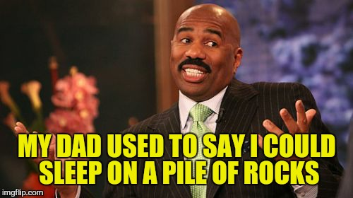 Steve Harvey Meme | MY DAD USED TO SAY I COULD SLEEP ON A PILE OF ROCKS | image tagged in memes,steve harvey | made w/ Imgflip meme maker