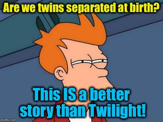 Futurama Fry Meme | Are we twins separated at birth? This IS a better story than Twilight! | image tagged in memes,futurama fry | made w/ Imgflip meme maker