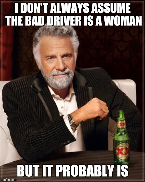 The Most Interesting Man In The World Meme | I DON'T ALWAYS ASSUME THE BAD DRIVER IS A WOMAN BUT IT PROBABLY IS | image tagged in memes,the most interesting man in the world | made w/ Imgflip meme maker