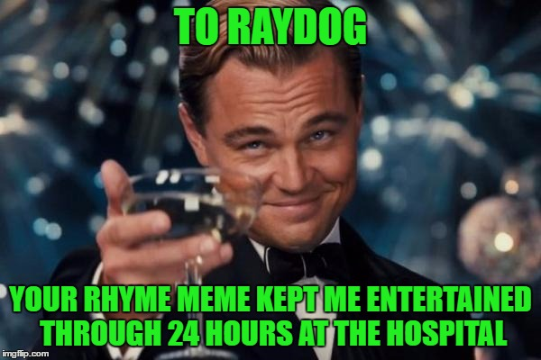 Thanks for the laughs. To Everyone who commented. YOU ROCK! | TO RAYDOG YOUR RHYME MEME KEPT ME ENTERTAINED THROUGH 24 HOURS AT THE HOSPITAL | image tagged in memes,leonardo dicaprio cheers | made w/ Imgflip meme maker