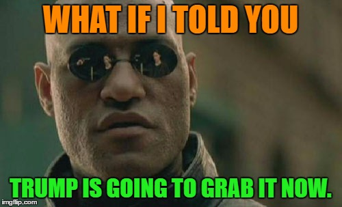 Matrix Morpheus Meme | WHAT IF I TOLD YOU TRUMP IS GOING TO GRAB IT NOW. | image tagged in memes,matrix morpheus | made w/ Imgflip meme maker