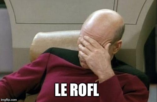 Captain Picard Facepalm Meme | LE ROFL | image tagged in memes,captain picard facepalm | made w/ Imgflip meme maker
