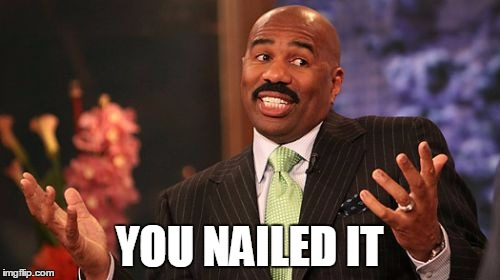 Steve Harvey Meme | YOU NAILED IT | image tagged in memes,steve harvey | made w/ Imgflip meme maker
