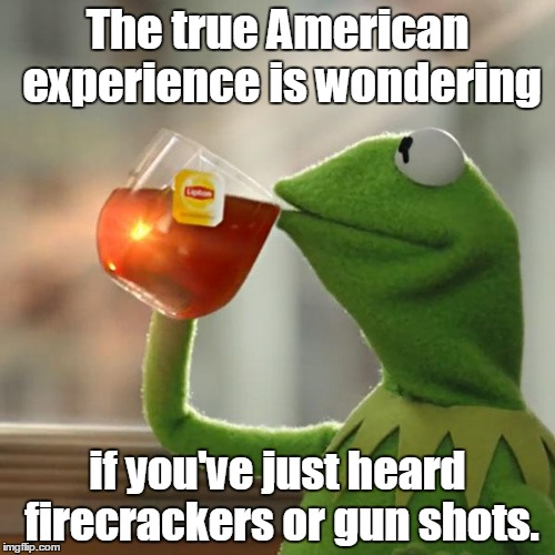 But Thats None Of My Business Meme | The true American experience is wondering if you've just heard firecrackers or gun shots. | image tagged in memes,but thats none of my business,kermit the frog | made w/ Imgflip meme maker