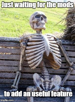 Waiting Skeleton Meme | Just waiting for the mods to add an useful feature | image tagged in memes,waiting skeleton | made w/ Imgflip meme maker