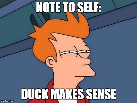 Futurama Fry Meme | NOTE TO SELF: DUCK MAKES SENSE | image tagged in memes,futurama fry | made w/ Imgflip meme maker