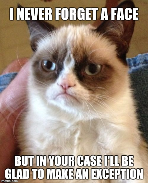 Grumpy Cat Meme | I NEVER FORGET A FACE BUT IN YOUR CASE I'LL BE GLAD TO MAKE AN EXCEPTION | image tagged in memes,grumpy cat | made w/ Imgflip meme maker