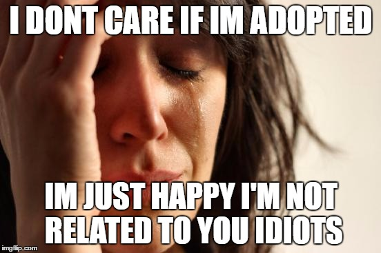 First World Problems Meme | I DONT CARE IF IM ADOPTED IM JUST HAPPY I'M NOT RELATED TO YOU IDIOTS | image tagged in memes,first world problems | made w/ Imgflip meme maker