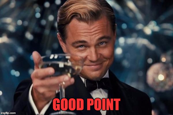 Leonardo Dicaprio Cheers Meme | GOOD POINT | image tagged in memes,leonardo dicaprio cheers | made w/ Imgflip meme maker