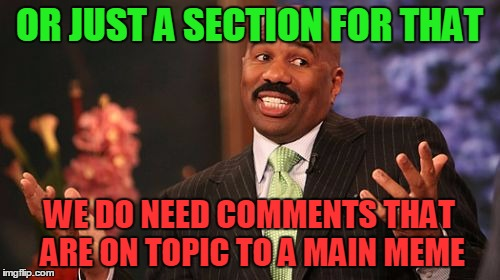 Steve Harvey Meme | OR JUST A SECTION FOR THAT WE DO NEED COMMENTS THAT ARE ON TOPIC TO A MAIN MEME | image tagged in memes,steve harvey | made w/ Imgflip meme maker
