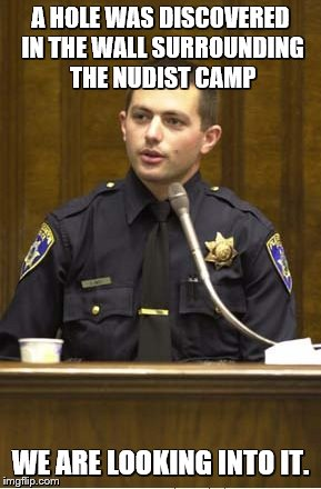 Police Officer Testifying | A HOLE WAS DISCOVERED IN THE WALL SURROUNDING THE NUDIST CAMP WE ARE LOOKING INTO IT. | image tagged in memes,police officer testifying | made w/ Imgflip meme maker