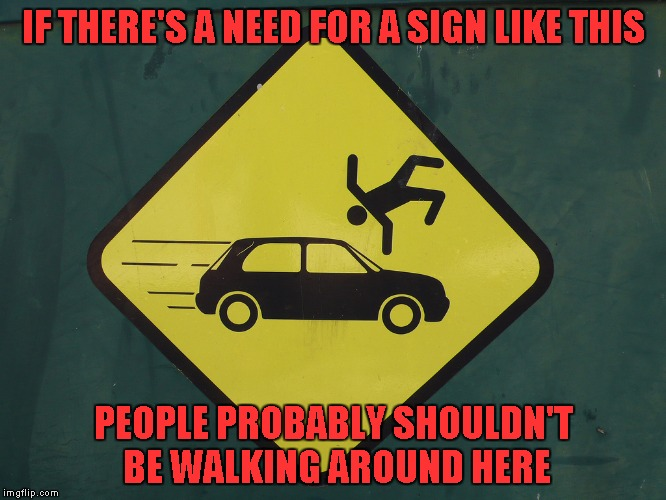 How many people you think had to learn that the hard way before they put up a sign. | IF THERE'S A NEED FOR A SIGN LIKE THIS PEOPLE PROBABLY SHOULDN'T BE WALKING AROUND HERE | image tagged in don't get hit,memes,funny signs,funny,obvious,look both ways | made w/ Imgflip meme maker
