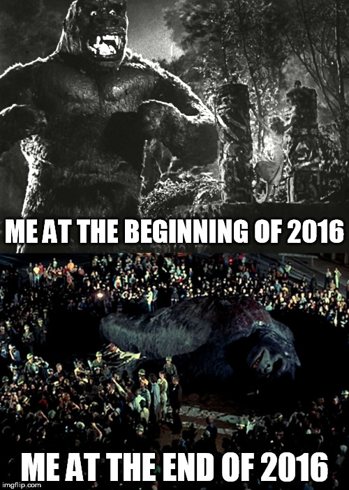 king kong at the beginning and end of 2016 | ME AT THE BEGINNING OF 2016 ME AT THE END OF 2016 | image tagged in king kong,kong,2016,beginning,end | made w/ Imgflip meme maker