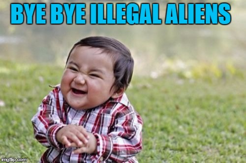 Evil Toddler Meme | BYE BYE ILLEGAL ALIENS | image tagged in memes,evil toddler | made w/ Imgflip meme maker