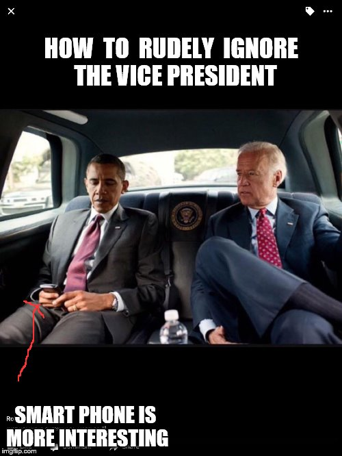 HOW  TO  RUDELY  IGNORE  THE VICE PRESIDENT SMART PHONE IS MORE INTERESTING | image tagged in cropped | made w/ Imgflip meme maker